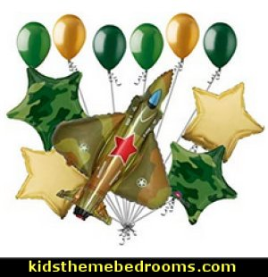 Military Jet 2.0 Camo Balloon Bouquet Army Birthday Welcome Home Camouflage   army party decorations - Camouflage Party Supplies - army party ideas - Military party ideas for a boy birthday party - Army & Camouflage decorations - army party decoration ideas - army themed party - army costumes - Army Camo Party Supplies -