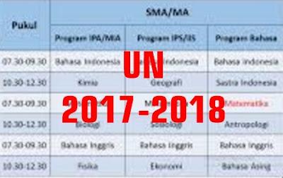 Jadwal Penetapan Ujian Nasional UN 2017-2018 SD SMP MTS SMA SMK MA