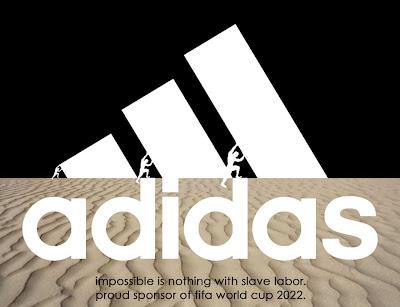 Logo de Adidas satira copa mundial Catar 2022