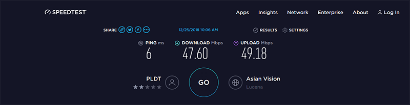 Our Ookla speed test results, Plan 1899