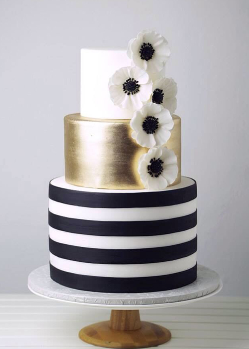 Black White And Champagne Wedding Cakes