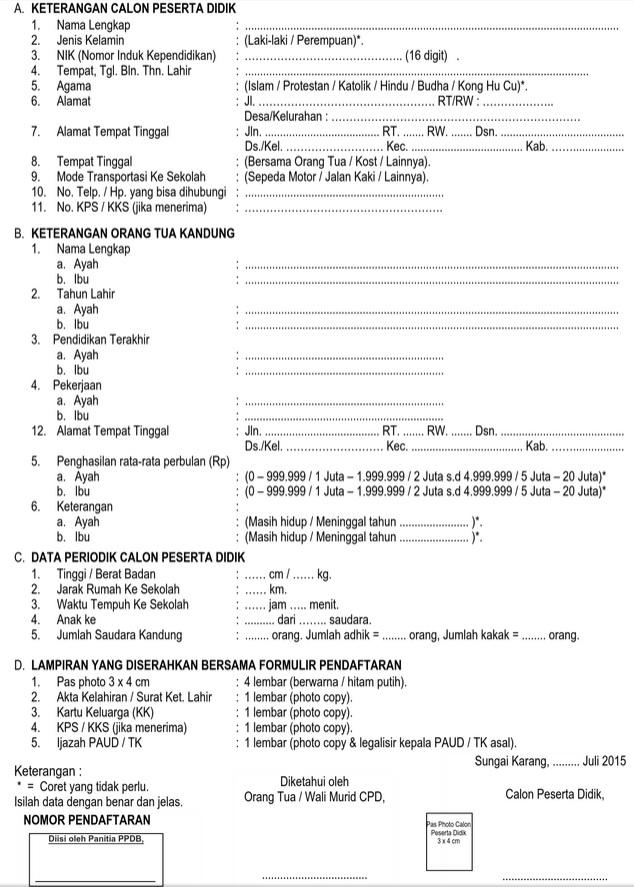 Contoh Formulir Pendaftaran Sekolah : contoh, formulir, pendaftaran, sekolah, Contoh, Formulir, Pendaftaran/Penerimaan, Peserta, Didik, (PPDB), Sesuai, Format, Isian, Aplikasi, Dapodikdas, REPORTASE