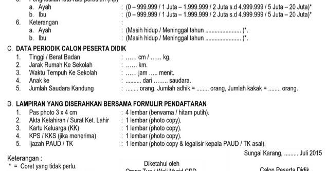 Contoh Formulir Pendaftaran Penerimaan Peserta Didik Baru Ppdb