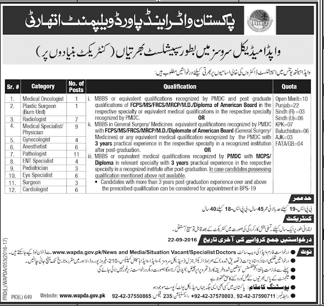 Doctors Jobs in WAPDA Pakistan