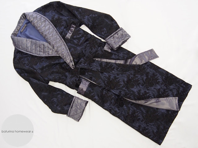navy blue silk dressing gowns full length paisley floral thick warm quilted shawl collar lapel morning gown gentleman silky dress robe
