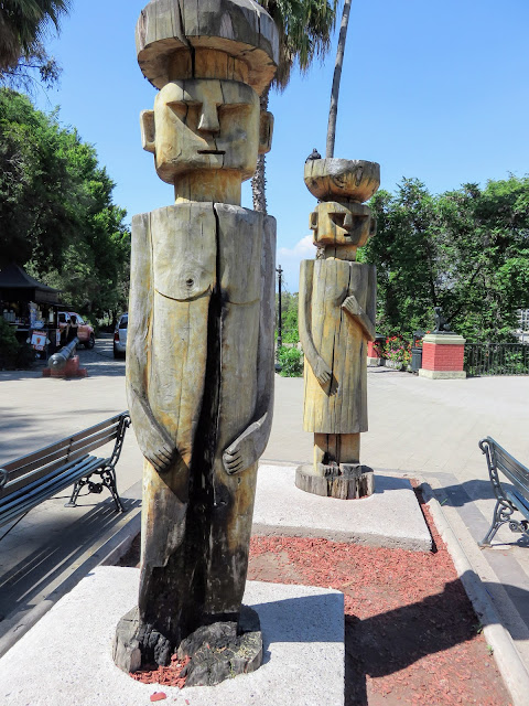Pre-Colombian-inspired art atop Santa Lucia Hill in Santiago Chile