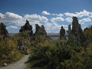 Trail through tufa formations leading to shoreline of Mono Lake, California