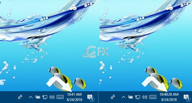 One-Click With The Taskbar Clock Display Seconds in Windows - www.ceofix.net