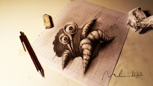 08-Paper-Monster-Muhammad-Ejleh-2D-Like-3D-Drawings