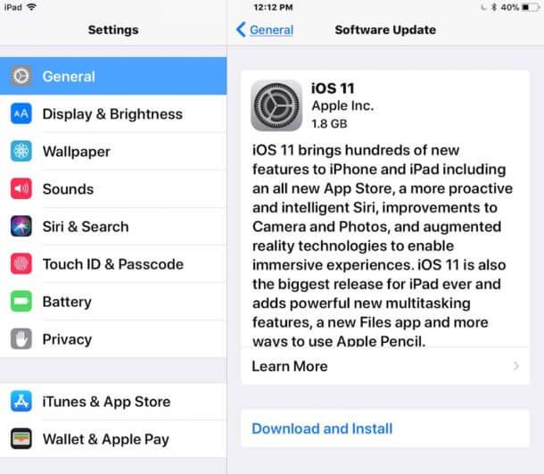 كيفية تحديث ايفون أو ايباد إلى iOS 11 مباشرة على الجهاز عبر الاعدادات