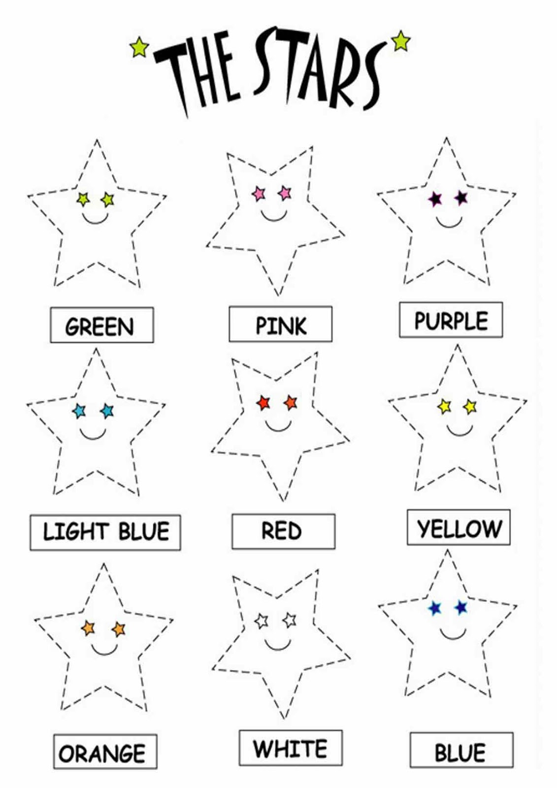 Kids Page Color The Stars Worksheets