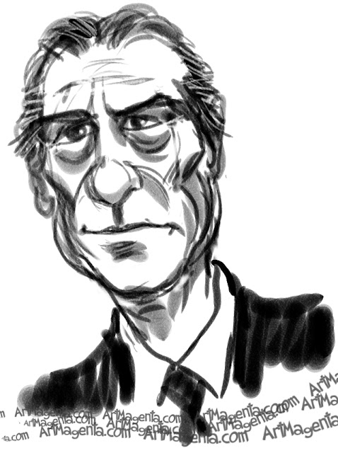Tommy Lee Jones caricature cartoon. Portrait drawing by caricaturist Artmagenta.