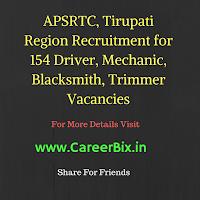 APSRTC, Tirupati Region Recruitment for 154 Driver, Mechanic, Blacksmith, Trimmer Vacancies