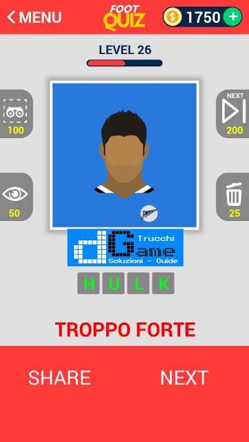 FootQuiz Calcio Quiz Football soluzione livello 21-30