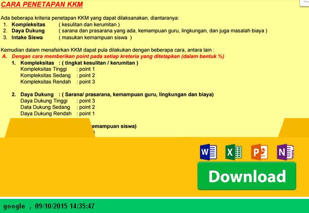 Aplikasi Penetapan KKM Kelas VI dengan Microsoft Excel - Download