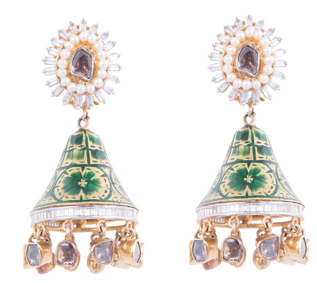 4.A pair of diamond jhumki made in 14kt having 45.970gms weight with enamel and pearl and studded polki in centre and  drops @222500 by SLG Jewellers-min