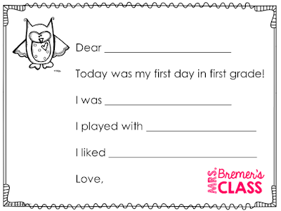FREE First Day of School Impressions Form- to communicate to parents how the first day of school went!