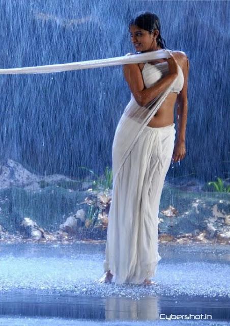 Celebraitys Hot  Sexy Images Priyamani Sexy Backless Wet White Transparent Saree -7486