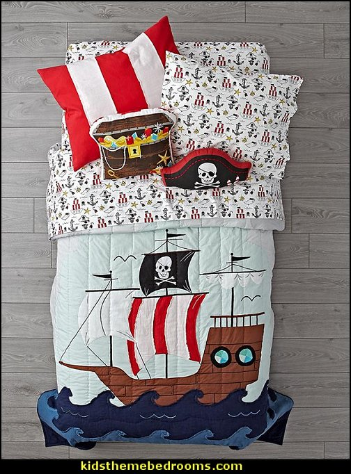 Pirate Bedding  pirate bedrooms - pirate themed furniture - nautical theme decorating ideas - pirate theme bedroom decor - Peter Pan - Jake and the Never Land Pirates - pirate ship beds - boat beds - pirate bedroom decorating ideas - pirate costumes