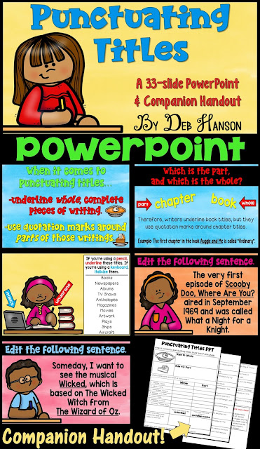 Punctuating Titles PowerPoint! This PowerPoint teaches students when to underline, when to italicize, and when to use quotation mark. It includes a companion handout!