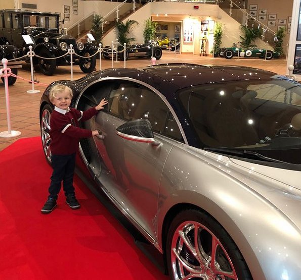 Princess Charlene shared on her Instagram account new photos of her twins Prince Jacques and Princess Gabriella at Bugatti sports car