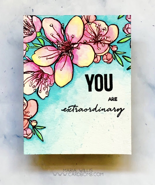 #mariawillis, #cardbomb, #card, #cards, #cardmaking, #thedailymarkerthirtyday, #handmadecards, #handmade, #watercolor, #stamp, #ink, #paper, #danielsmith, #danielsmithwatercolors, #flowers, #art, #color, #diy, #ellenhutson,