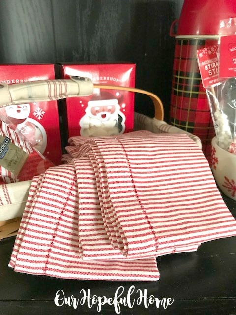 red white striped holiday towels
