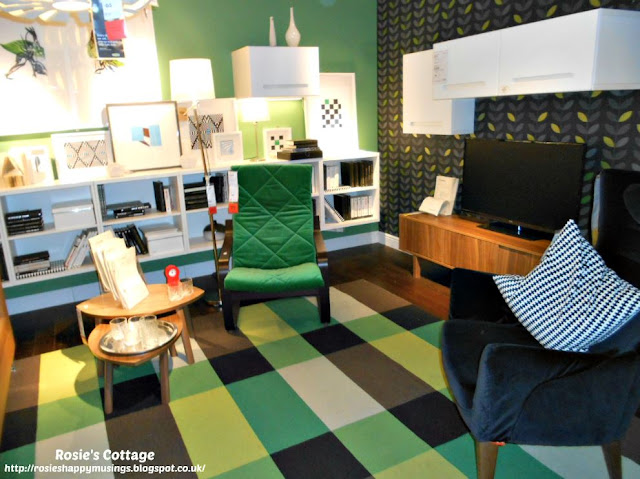 Ikea Living Room in Shades of Green & Black