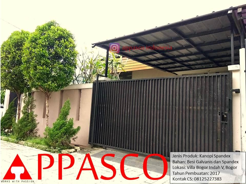 Kanopi Spandek Minimalis Galvanis Hitam di Villa Bogor Indah