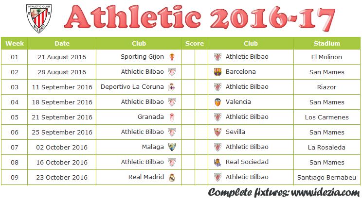 Download Jadwal Athletic Bilbao 2016-2017 File JPG - Download Kalender Lengkap Pertandingan Athletic Bilbao 2016-2017 File JPG - Download Athletic Bilbao Schedule Full Fixture File JPG - Schedule with Score Coloumn