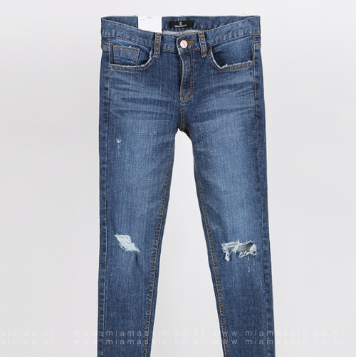 Faded Wash Damaged Skinny Jeans
