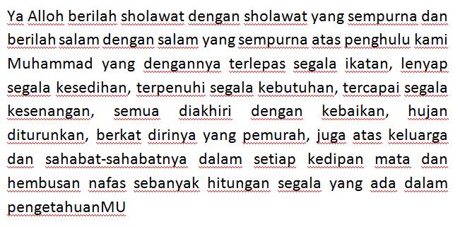 Terjemahan Sholawat Nariyah