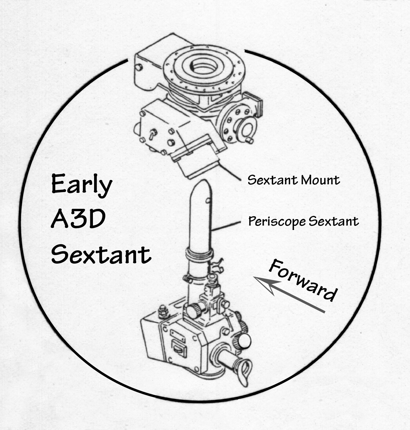 hight resolution of when sights were to be taken the periscope sextant was inserted into the mount the tip stuck out about an inch above the skin on the airplane