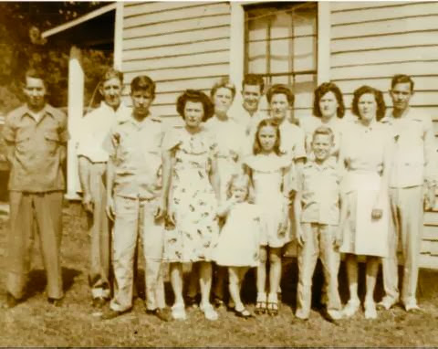 My great grandparents, Lonnie and Tellie Williams, with all of their children. My grandfather, Fred Williams, is in the back almost directly in the middle.