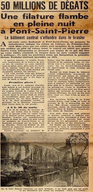 Filature Levavasseur sur l'Andelle - Fontaine-Guérard incendie 1946