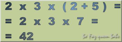 Hierarquia das Operações Matemáticas. Quando se tem parênteses, primeiro se faz as operações que estão dentro deles.