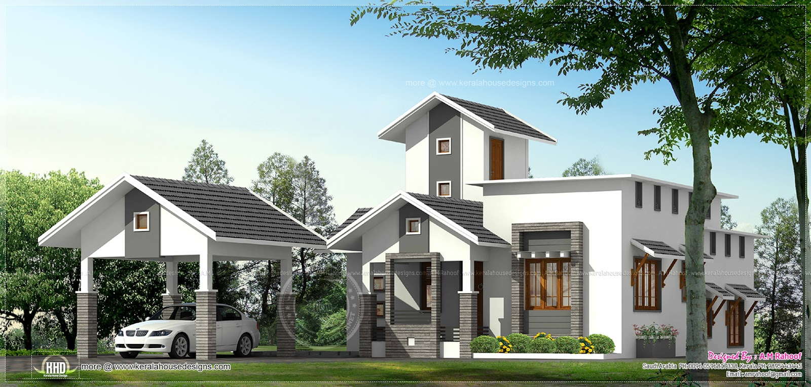 single floor home with separate car porch kerala home