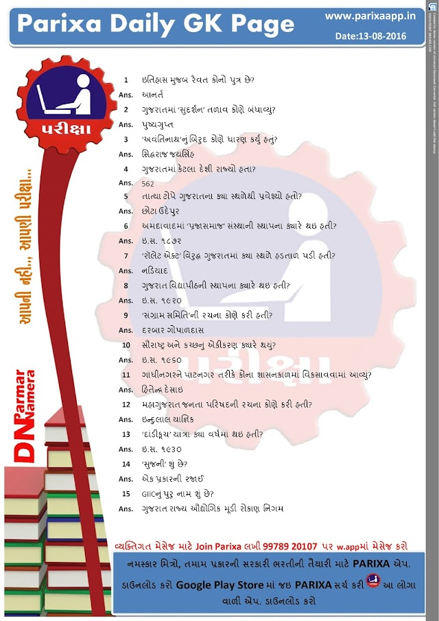 Parixa daily gk page date: 14/08/2016