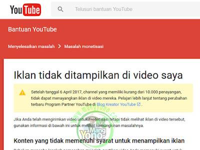 Kebijakan baru YouTube 10.000 penayangan baru muncul iklan