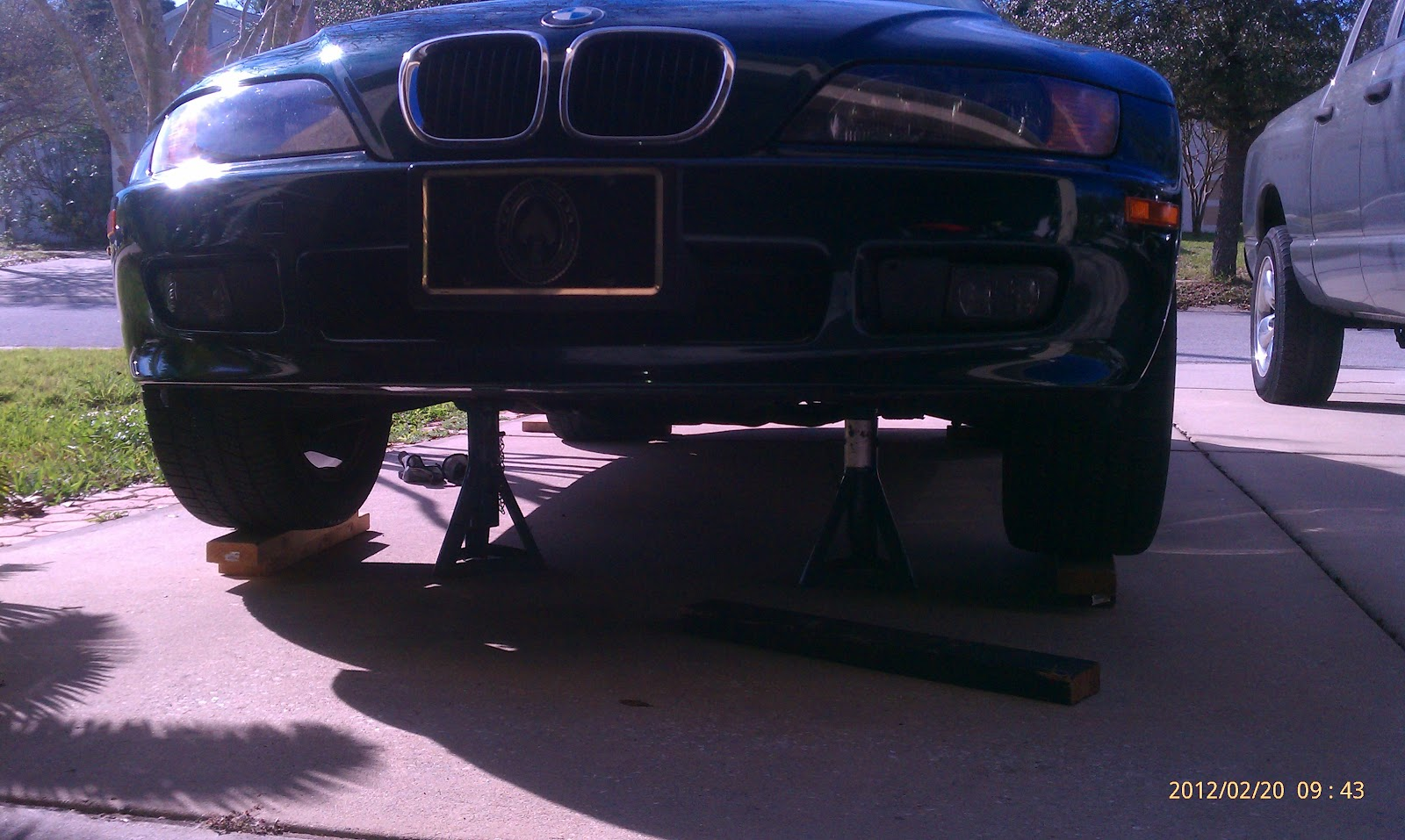 car jacked up - o2 sensor is on the left side underneath