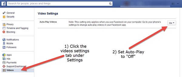 How to disable autoplay for Facebook videos