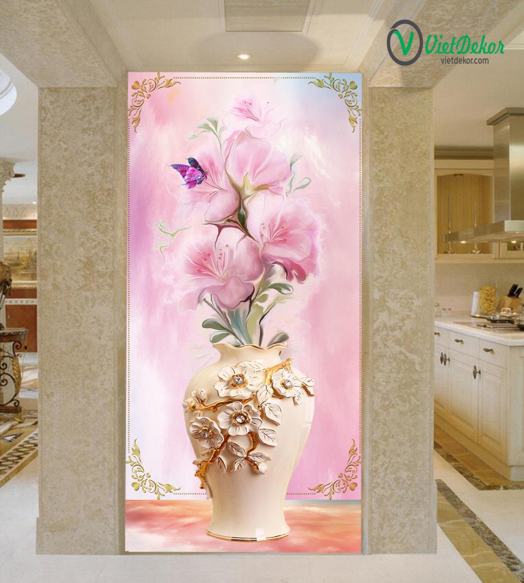 Tranh 3d khổ dọc bình hoa trang trí sảnh phòng khách
