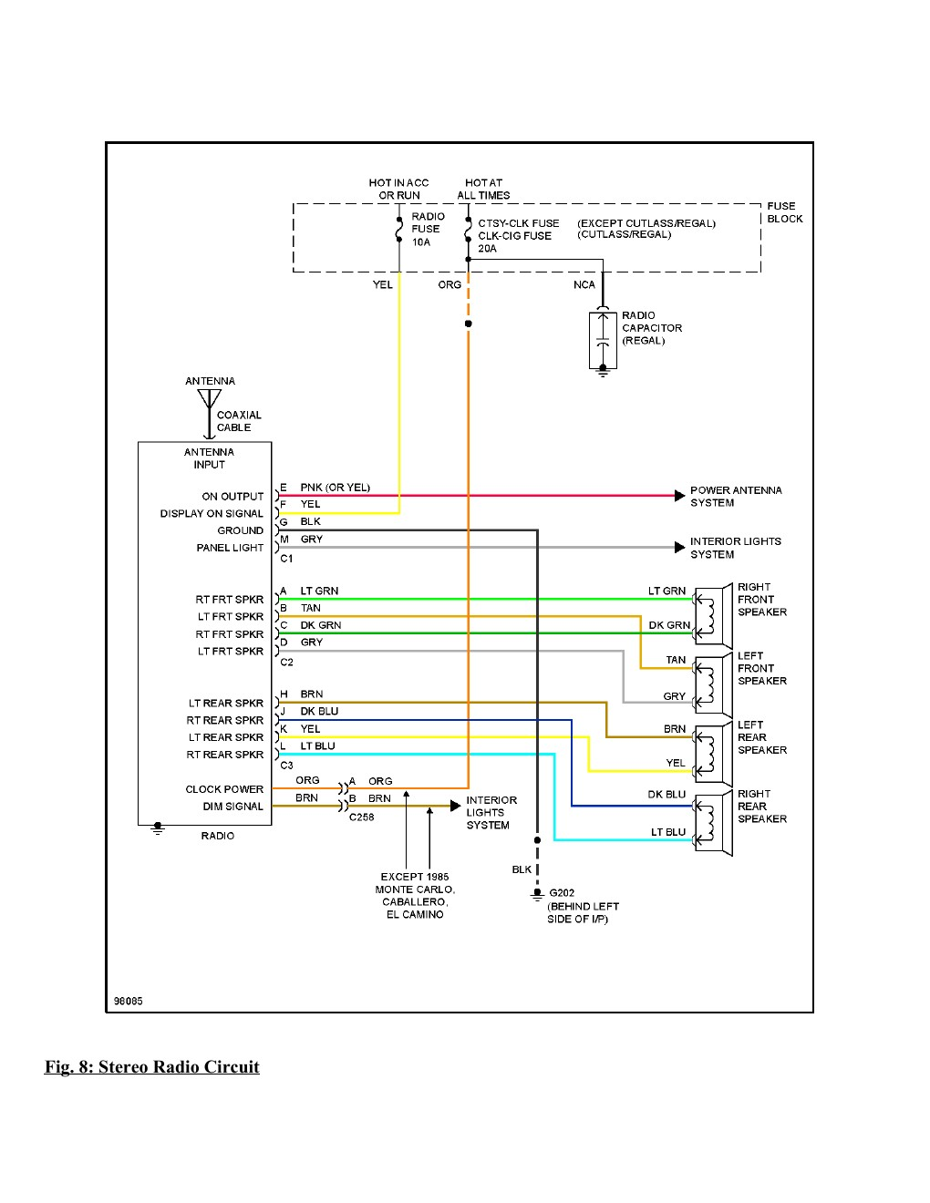 1995 Chevrolet Monte Carlo SS Complete Wiring Diagram Part