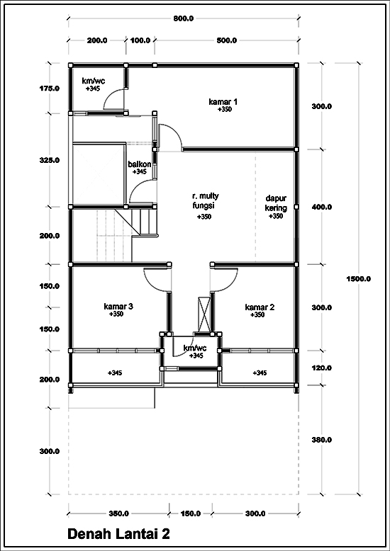 Denah rumah minimalis tiga lantai luas 171m2 4 kamar tidur