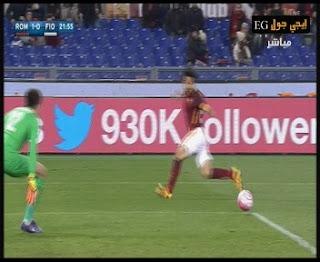"""فيديو"""" صلاح يسجل هدفين امام فيورنتينا """" اهداف روما 4-1 فيورنتينا """"الدورى الايطالى"""