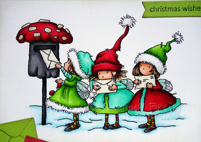 Colourful Christmas card using Fairy Post stamp by LOTV