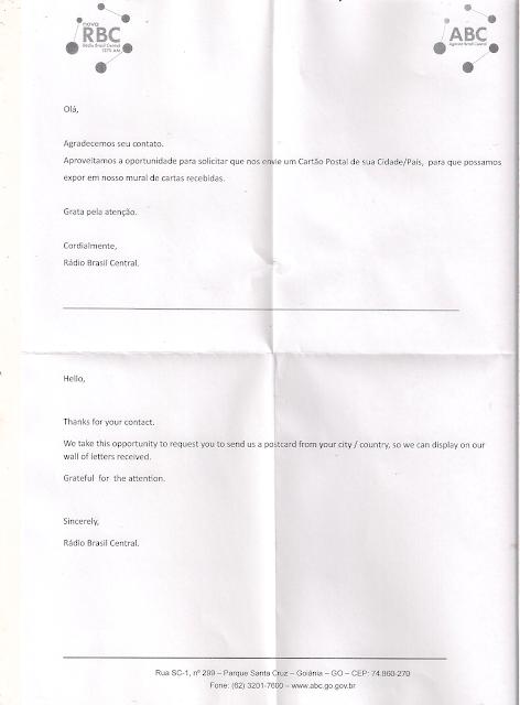 Carta de confirmação - Rádio Brasil Central