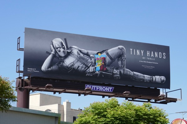 Deadpool 2 Tiny Hands Trolli fragrance spoof billboard