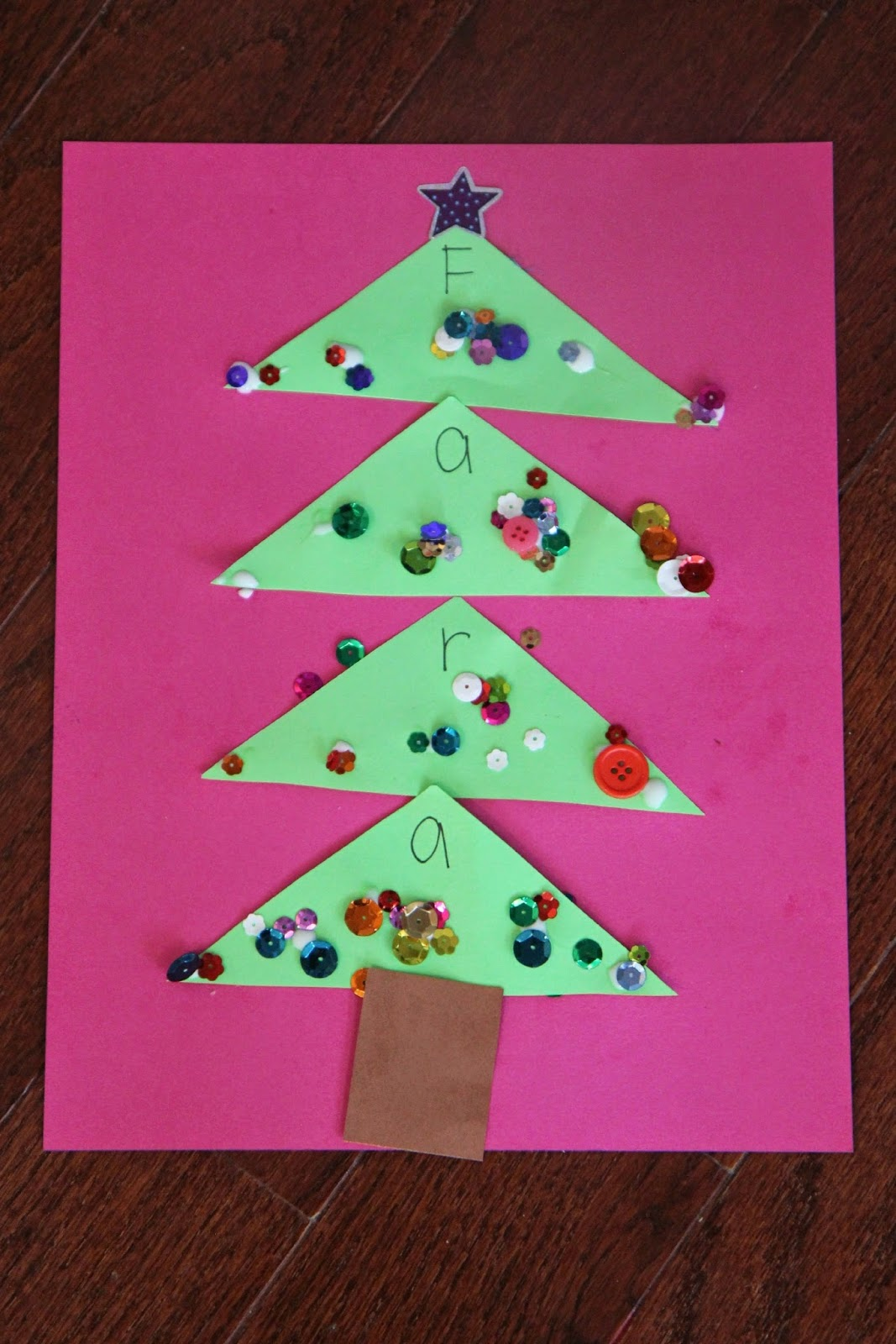 Toddler Approved!: Sparkly Name Christmas Tree Craft for Kids