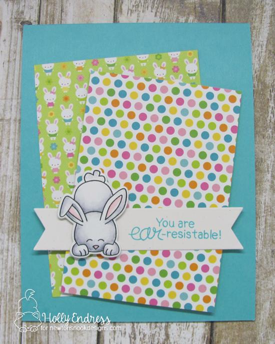 Bunny Card by Holly Endress| Bitty Bunnies Stamp Set and Die Set by Newton's Nook Designs #newtonsnook